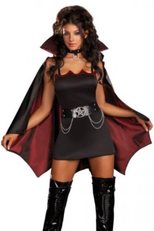 Fang Bangin' Fun Vampiress Sexy Costume - Short Dress With Cape