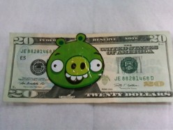 Denominations in $5 & $20 Angry Bird Money