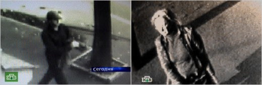 CRIME SCENE Images from a security camera show the journalist Anna Politkovskaya, (right), entering a building where she was killed, and the possible suspect in the murder (left).