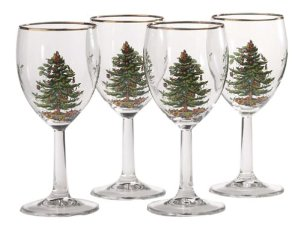 Spode Christmas Tree 13-Ounce Wine Goblets with Gold Rims, Set of 4