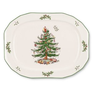 Spode Christmas Tree Sculpted Octagonal Platter, 14-Inch