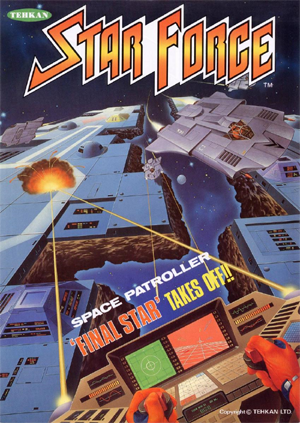 The rather excellent arcade flyer to Tehkan's Star Force