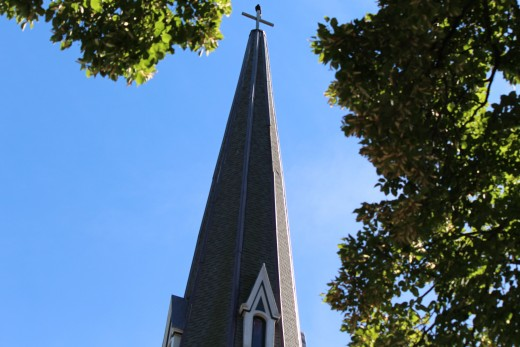 One of the many church steeples in Kingston.