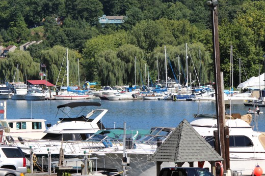 A look at some of the boats docked on the Rondout in the Kingston Waterfront District.