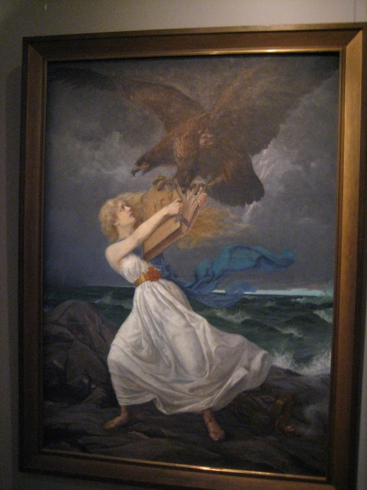 The Russian doubleheaded eagle is attacking the maiden symbolizing Finland, tearing a law book. The painting became the symbol of protest against Russian occupation.
