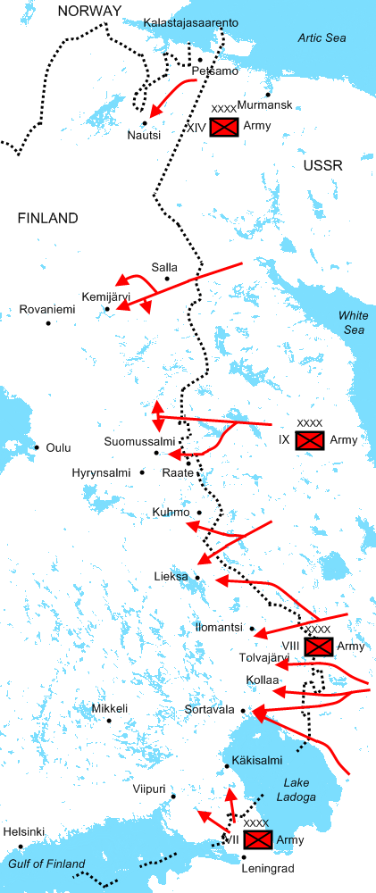 The Soviet major offensives of 30 November - 22 December 1939 in the Winter War. The Ninth Army is in the centre.