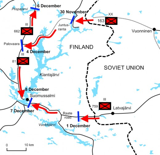 Diagram of the Battle of Suomussalmi from 30 November to 8 December 1939.