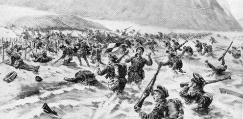 1st Battalion Lancashire Fusiliers - storming of Beach W near Cape Helles, Gallipoli, April 25th, 1915