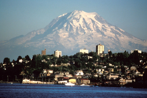 Just one of the beautiful sights my mother and I were able to see during our trip. Mount Rainier over Tacoma, Washington, USA.