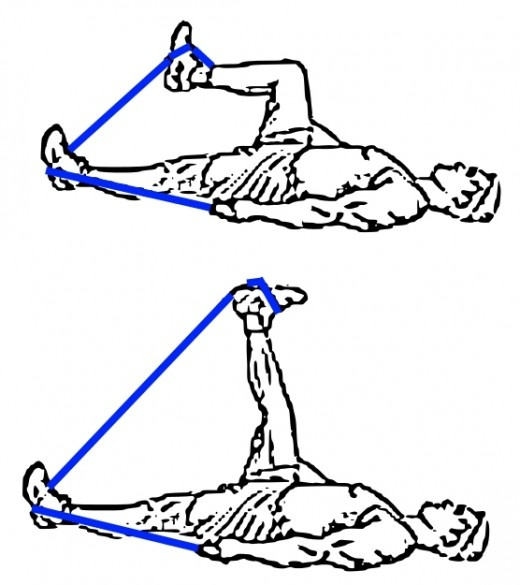 Leg exercise using resistance bands in the prone position