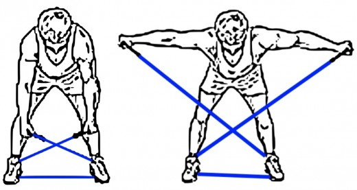 A good exercise for the shoulders. Bending the back at the same time adds to the benefit for the torso and back.