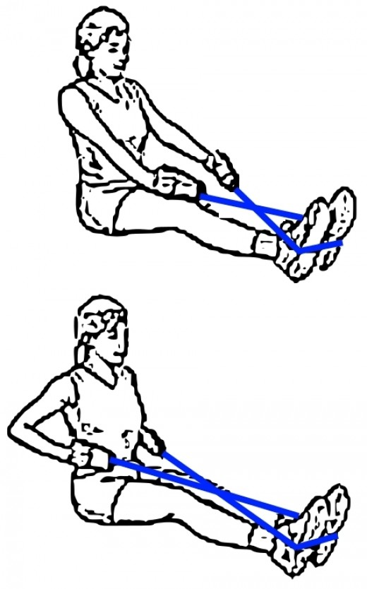 Rowing type exercise using resistance bands can be adapted to exercise the lower back and legs as well.