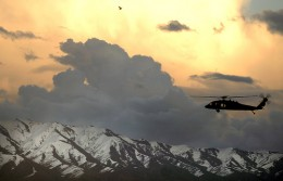 Photograph of a Black Hawk helicopter near Bagram, Afghanistan, March 2007