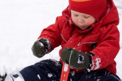 This little guy is warm and toasty in the snow because his snowsuit is red.