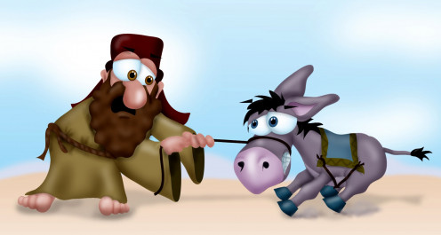 Balaam is none too patient with his donkey.