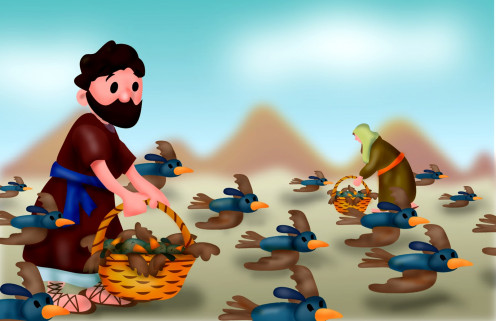 Israelites greedily gathering quail. Soon they would be sick of quail