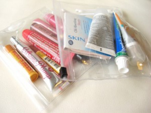 100ml's of liquid only. Pack toiletries into a plastic, sealable bag, ready to declare for xray.