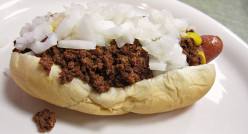 Coney Island hot dog traditionally served in Flint, Michigan. There is a 1950s diner there that is awesome! It's Angelo's, opened in 1949. I visit whenever I am near Flint.