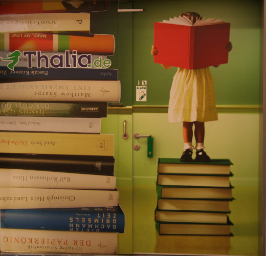 Poster/Mural that hides door in bookstore - Shopping Mall in Ludwigshafen, Germany