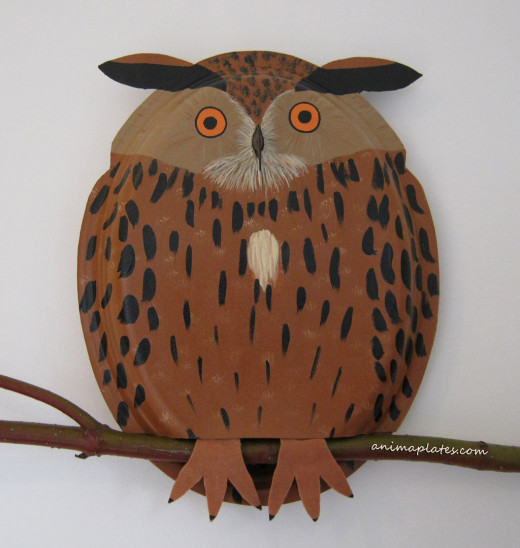 Great Horned Owl made with paper plates