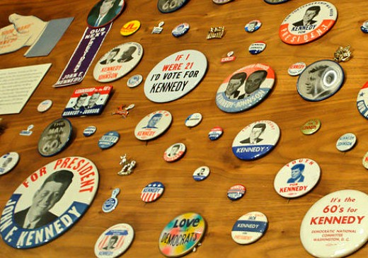 Campaign buttons at the Kennedy Library