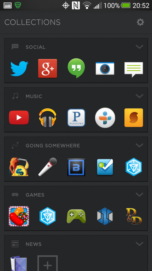 "Categories (or ""Collections"") Screen. This is where the launcher auto-groups your apps. Though you can move them around."