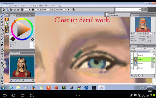 Detail work on the Eyes.