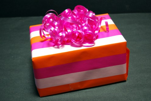 Make it fun and colorful with some funky wrapping paper!
