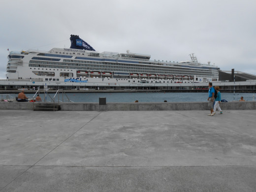 The Norwegian Star in port at Ponta Delgada, the Azores