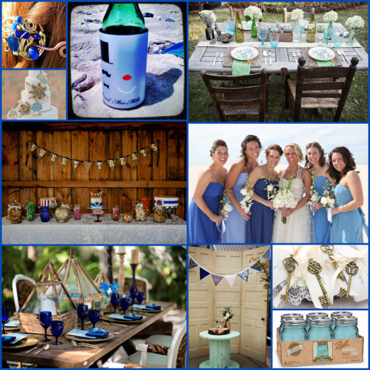 A striking contrast of aqua and coblat blue, with a touch of brass, creates the perfect balance for your rustic wedding ideas.