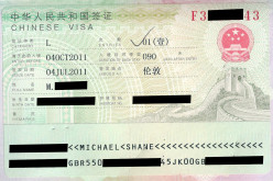 Chinese visa (censored by me)