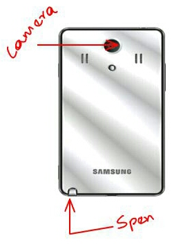 Samsung Galaxy Note 3 showing the camera and s pen