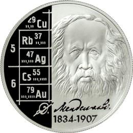 Commemorative Russian coin honoring Dmitri Mendeleev