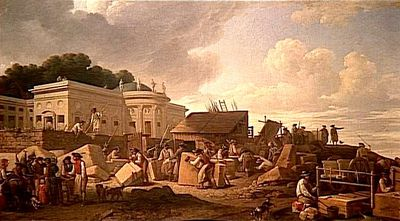 Hotel de Salm under construction in 1786 as Jefferson would have seen it.