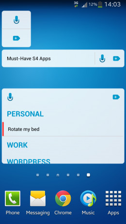 The three different types of widgets.
