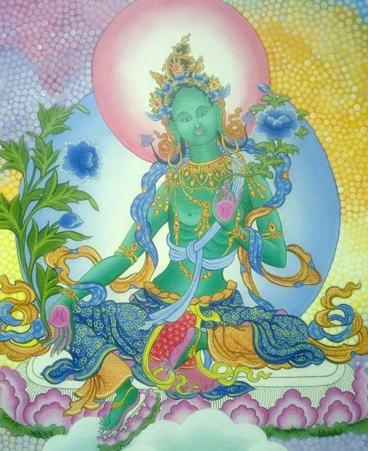 Nepali Princess Bhrikuti is worshiped as Green Tara in Vajrayana Buddhism.