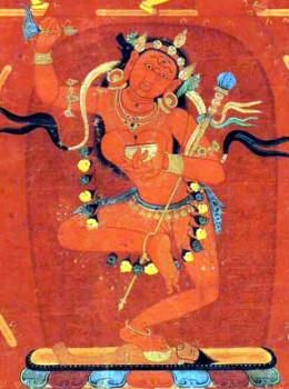 The 14th century Tibetan thangka painting of the Mandala of Vajravarahi