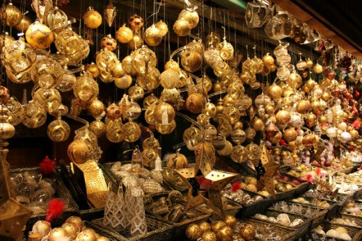 Christmas baubles at a traditional stall on Christkindlmarkt