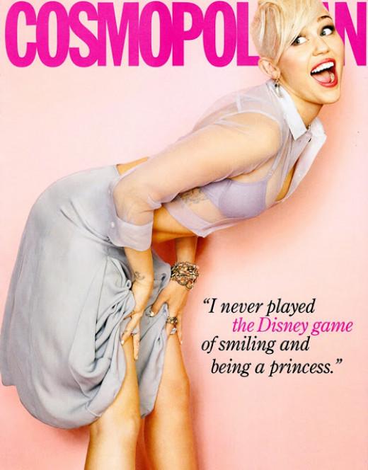 Miley posing for Cosmopolitan magazine