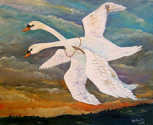 Midhir and Etain change into swans and fly away, pursued by an angry Eochaidh