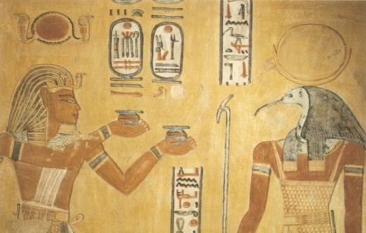 Thoth with Ramses III in the Tomb of Khaemwaset