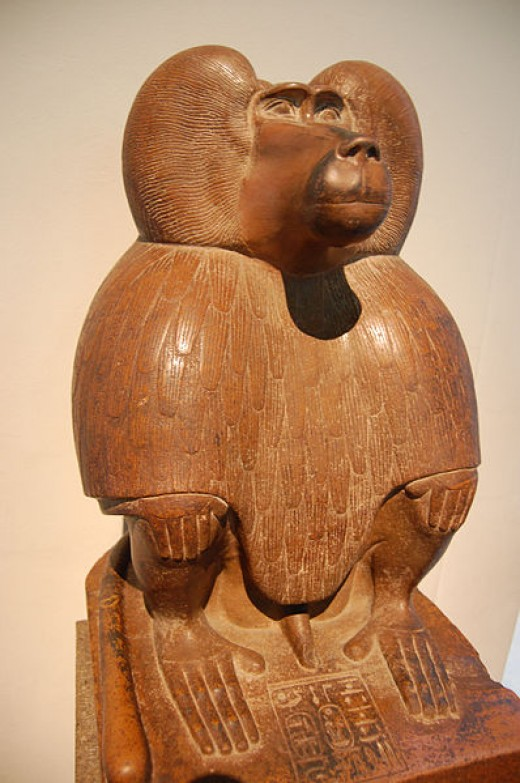 Thoth in the form of the Baboon, statue in British Museum.