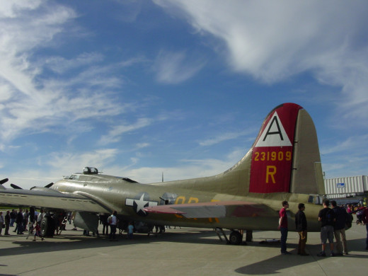 The Collings Foundation's Boeing B 17 Flying Fortress at the Worcester Airport. The plane is part of the Wings of Freedom tour. Both Joseph Gosselin and Dick Dining flew this type of aircraft over Nazi Germany