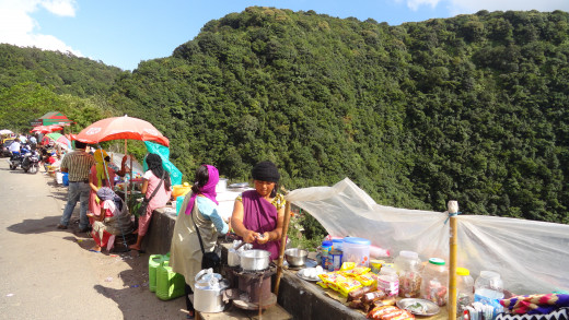 Local market besides the road to Charapunjee