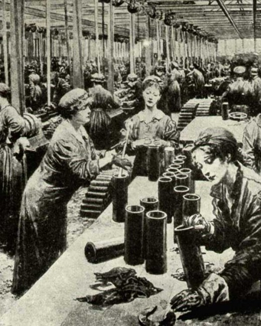Factories were dominated by females during the war.
