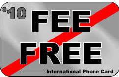 Fee Free phone card by Speedypin