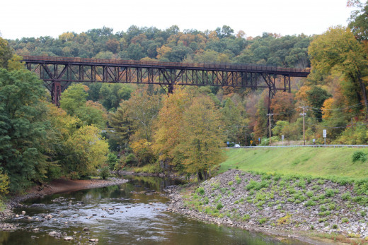 An old railroad bridge turned walkway.