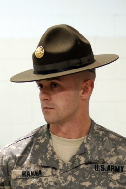 The Model-1872 Campaign Hat worn by all soldiers in the US Army evolved in its shape and color over the decades. Today, this is what it looks like. The wearing of incorrect replicas of Model-1876 Campaign Hats in cavalry units is arbitrary.