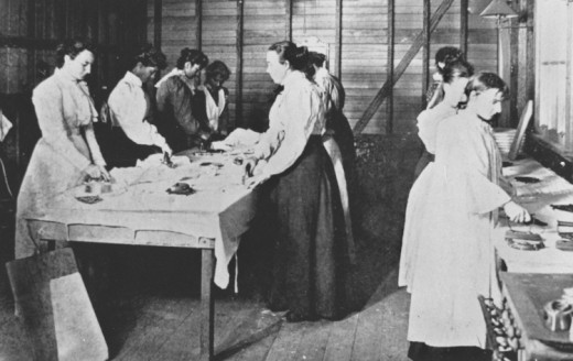 Before the war, women mainly worked in the domestic sector.