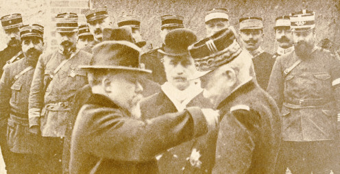 Raymond Poincaré, President of the Republic, pinning the Military Medal on the chest of Generalissimo Joffre.